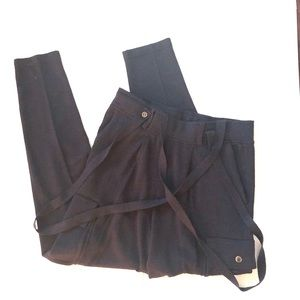 Wallace navy blue wool suspender pants size s